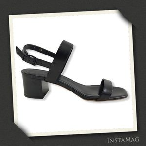 EVERLANE Double Strap Block Heel Leather Sandals